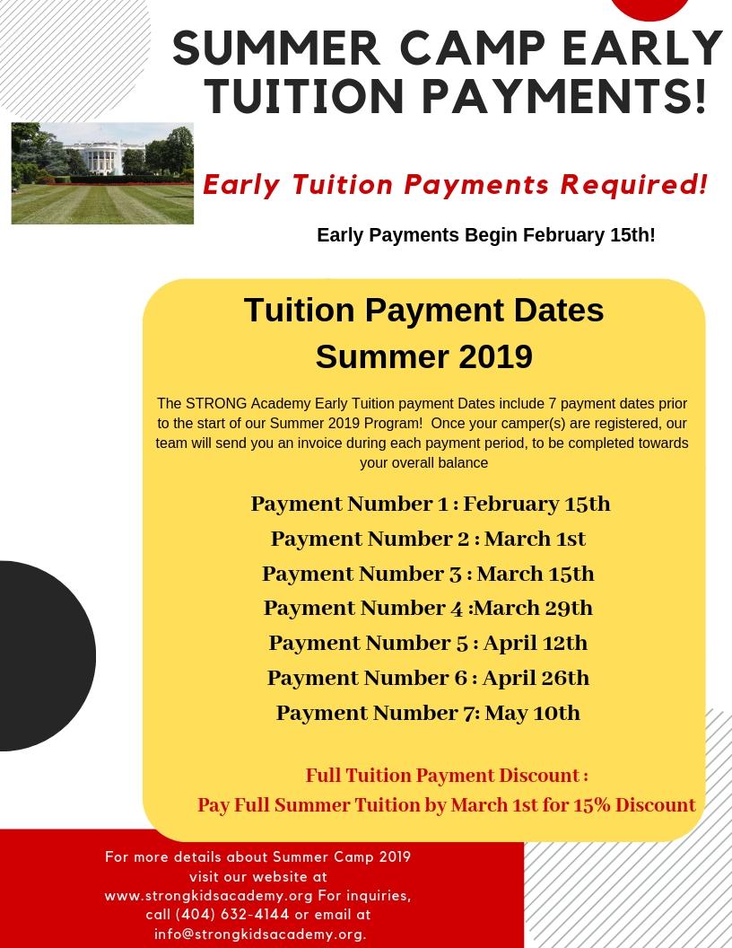 Summer 2019 Tuition Payments – QiÁNGDÀ Academy